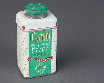 vintage tin of Conti baby powder | vintage nursery decor