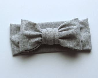headband - big bow headband - heather grey headband - stretchy headband - bow headband - baby headband - toddler headband