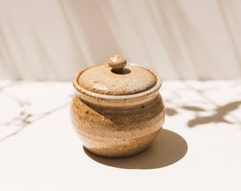 Pottery Jar with Lid, Handmade pottery, bohemian decor, Pottery, Sugar Bowl, Jar,
