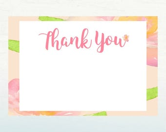 Pink Floral Thank You Card, April Showers Bring May Flowers Thank You, Blank Birthday Thank You Card, 4x6 INSTANT DOWNLOAD