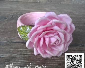 Bracelet decorated by pink rose, pink bracelet, boho bracelet, gift for her, pink rose bracelet, pink flower bracelet, wedding bracelet