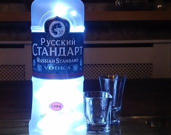 Upcycled Russian Standard Bottle Lamp. Perfect Mood Lighting Gift For Women. Ideal Boyfriend Gift For Men & Man Caves. Upcycled Lighting