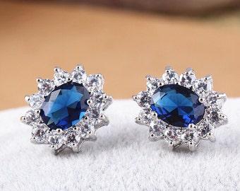 High quality Stud earrings,Blue zircon earrings,Crystal earrings,Blue Bridal jewelry,Gorgeous zircon earrings
