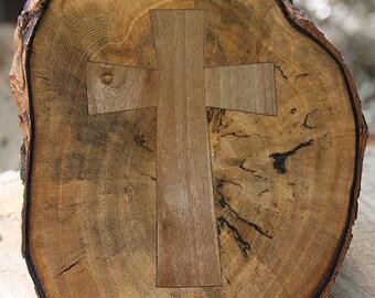 Blk Walnut cross inset in Pepper Wood