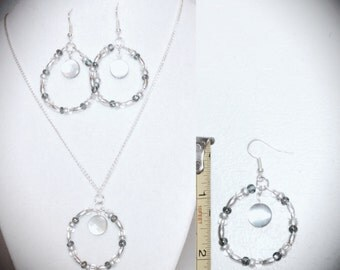 """20"""" silver,gray,and clear beaded necklace and earrings"""
