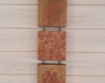 Autumnal wooden tiles,leaf art ,FREE POSTAGE ,autumn picture