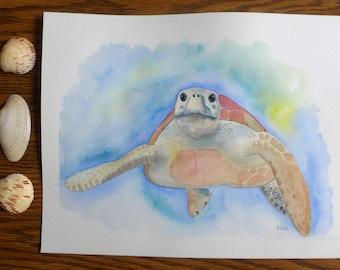 Sea Turtle Watercolor Painting , Original Painting, One of a kind, Marine turtle, Ocean, Seaturtle, Nursery, Nautical Decor, Turtle  Lover