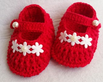 Red baby girl booties