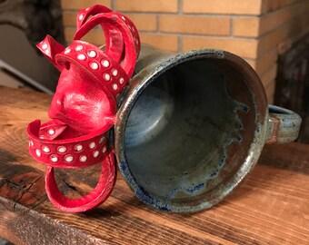 Red Octopus Mug - Wheel-thrown Pottery