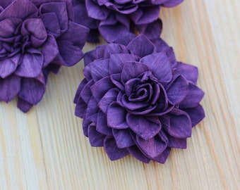 Purple Wooden Flowers Set, Sola Flowers, Rustic Wedding,  Cake Flower, Cake Table Decor, Country Wedding, Decorations, Wedding Flowers,