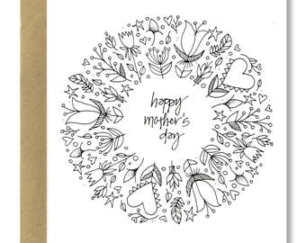 Mother's Day Wreath - A2 Card (Single or Set of 5)