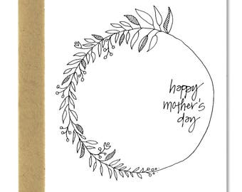Mother's Day Minimal Wreath - A1 Card (Single or Set of 5)