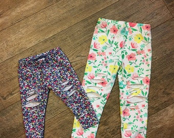 Floral shredded leggings-girl-baby-leggings-sizes 3M-8 girls