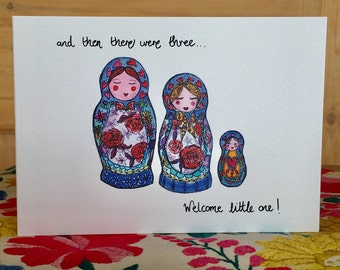 New Baby Russian Dolls Card (first baby)
