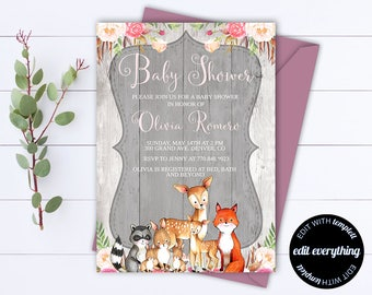 Rustic Baby Shower Invitation Template - Girl Baby Shower Invite - Woodland Animal Baby Shower Template - Rustic Baby Girl Shower invitation