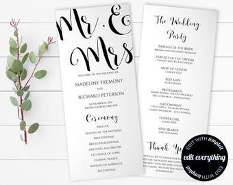 Mr and Mrs Wedding Program Template - Tea Length Program Template - Order of Service Wedding Ceremony Program - Mr and Mrs Program Template