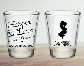 Custom New Jersey Wedding Favor Shot Glasses