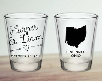 Custom Ohio Wedding Favor Shot Glasses