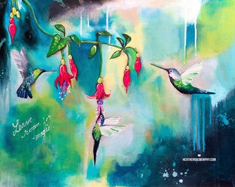 LEAVE ROOM for MAGIC | Hummingbird Art | Bird Print | Colorful Wall Art | Inspiring Wall Art | Whimsical Art | Nature Prints | Nature Art
