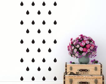 WALL DECAL RAINDROPS, Set of  Raindrops, 3, 4 or 5 inches, Nursery, Kids, Living Room, Bedroom Wall Decal, Custom Colour, Removable Vinyl