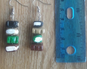Polymer Clay Book Stack earrings