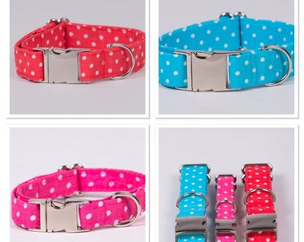 Polka dot dog collar - available in 3 colours
