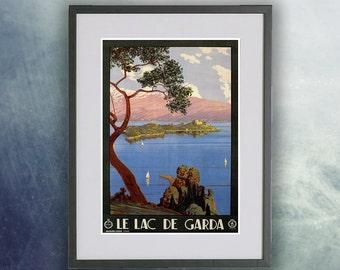Lake Garda, Italy Vintage Poster Print
