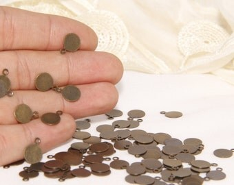 50 Pcs Antique Bronze  8 mm Round, Antique Brass Charms, Antique Bronze Coins,Disc,Stamping Disc, TNC2