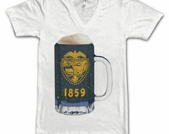 Ladies Oregon State Flag Beer Mug, Home State Tee, State Pride, State Flag, Beer Tee, Beer T-Shirt, Beer Thinkers, Beer Lovers Tees