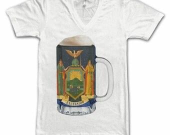 Ladies New York State Flag Beer Mug Tee, Home Tee, State Pride State Flag, Beer Tee, Beer T-Shirt, Beer Thinkers, Beer Lovers Tee, Fun Beer