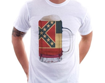 Mississippi State Flag Beer Mug Tee, Unisex, Home Tee, State Pride, State Flag, Beer Tee, Beer T-Shirt, Beer Thinkers, Beer Lovers Tee,
