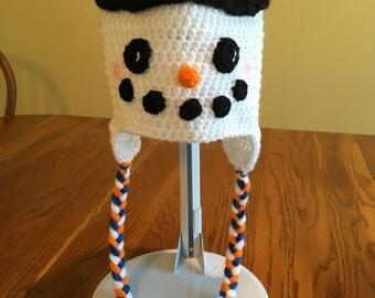 Snowman hat - snowman tasseled cap - crochet snowman hat - winter hat -