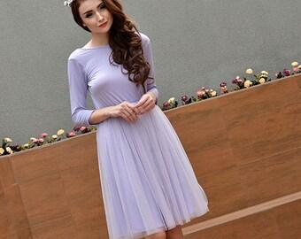 Lavender Bridesmaid Dress, Tutu Prom Short Dress, Knee Length Open Back Dress, Women Formal Dress and Party Dress