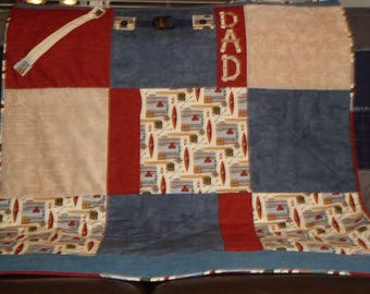 Fidget Lap Quilt for Dad, Grandfather, Dementia/Alzheimer's activity & fidget quilt, Lap quilt, Father's Day