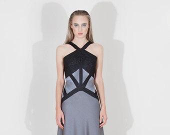 Halter-neck crepe satin long dress
