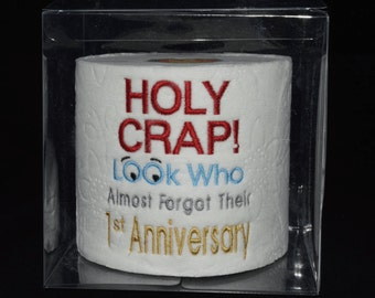 Embroidered 1st Anniversary toilet paper in clear display gift box