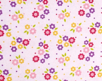 Flower Scatter Flannel Print -Baby Pink Flannel Fabric from David Textiles -Flannel Fabric -Children Flannel - Kids Flannel - Floral Flannel