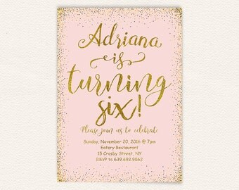 6th birthday, pink and gold, birthday invitation, sixth birthday, birthday party, 6th birthday party, kids birthday, girl birthday  31