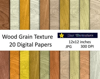 Wood Grain Digital Paper, Scrapbook Paper, Background Designs, Instant Download Commercial Use - DP007