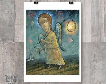 DIGITAL Art Print  - Angel wanderer, Angel with a lamp, Angel prints, Blue starry night, Blue sky print, Angel prints, Religious paintings