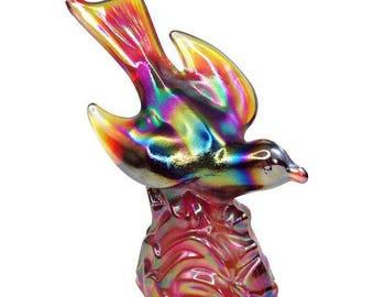 Vintage Fenton Red Carnival Glass Bird on a Rock Figurine