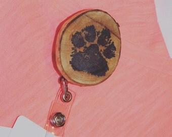 Paw print badge holder
