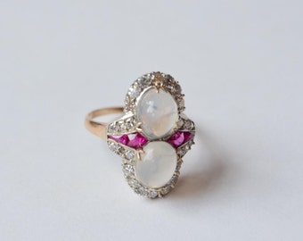 Beautiful One of a Kind Antique Moonstone Ring Diamonds Ruby Ring sz 6 14K