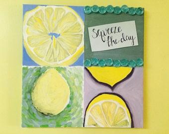 Squeeze The Day Canvas Art Painting Lemons Kitchen Decor