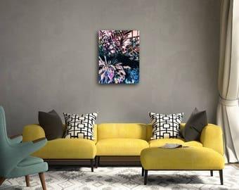Tropical Painting Original Art Neon Pink Jungle Greenhouse Wall Decor