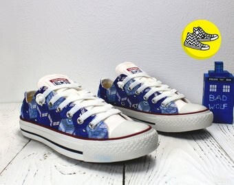 Doctor Who TARDIS pattern low top custom converse shoes whovian design