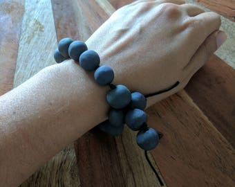 Handmade clay dark purple/green/gray swirl meditation beads (japa mala), bracelet