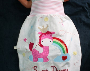 "romper bag / baby sleeping bag ""Unicorn with rainbow"""