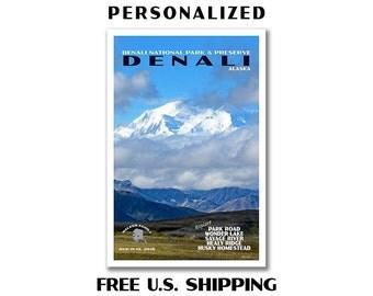 Personalized Denali Poster, denali print, national park print, national park poster, denali art, denali, travel poster, denali national park