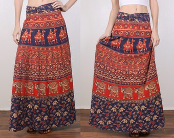 Vintage Elephant Wrap Skirt // 70s Batik Indian Cotton Camel Floral Maxi - Small Medium Large xl